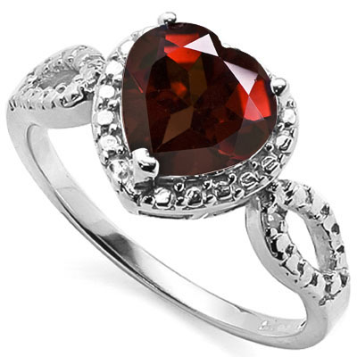 BRILLIANT 2 CARAT GARNET & DOUBLE GENUINE DIAMONDS PLATINUM OVER 0.925 STERLING SILVER RING
