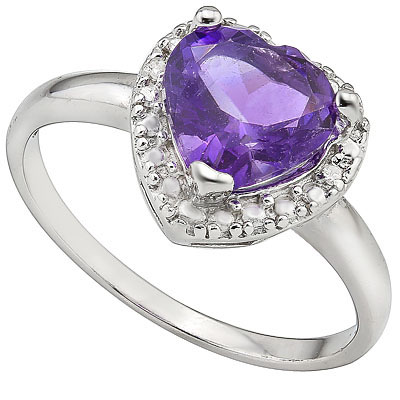 MESMERIZING 1.38 CT AMETHYST & 2 PCS GENUINE DIAMOND 0.925 STERLING SILVER W/ PLATINUM RING