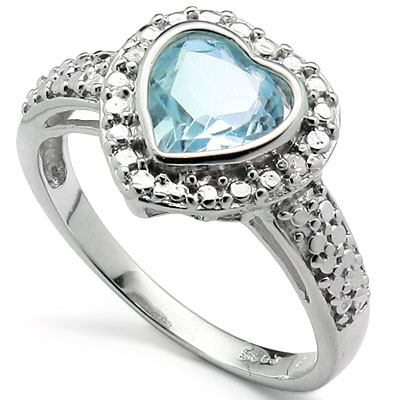 EXCELLENT 1.34 CARAT BLUE TOPAZ WITH DOUBLE GENUINE DIAMONDS PLATINUM OVER 0.925 STERLING SILVER RING