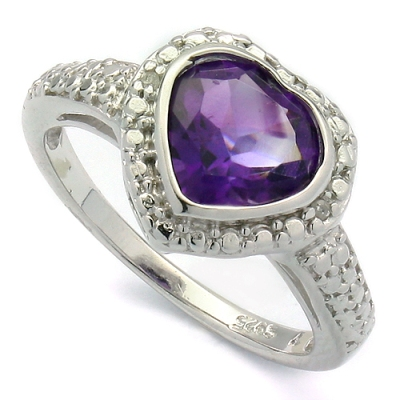 EXCLUSIVE 1.36 CT AMETHYST & 2 PCS GENUINE DIAMONDS 0.925 STERLING SILVER W/ PLATINUM RING