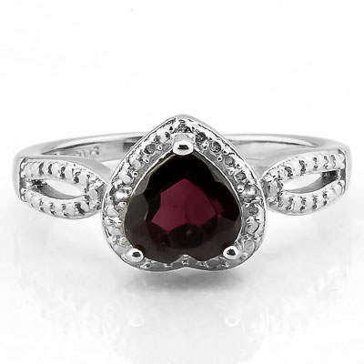 GORGEOUS 1.61 CARAT GARNET WITH DOUBLE GENUINE DIAMONDS PLATINUM OVER 0.925 STERLING SILVER RING