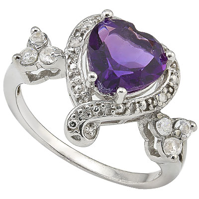 MARVELOUS 1.25 CT AMETHYST WITH 6 PCS WHITE TOPAZ AND DOUBLE GENUINE DIAMONDS 0.925 STERLING SILVER W/ PLATINUM RING