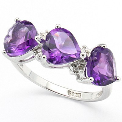 MYSTIC HEART SHAPED AMETHYST WITH DOUBLE DIAMONDS AROUND 0.925 STERLING SILVER W/ PLATINUM RING