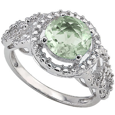 ALLURING 1.8 CARAT GREEN AMETHYST & DOUBLE GENUINE DIAMONDS PLATINUM OVER 0.925 STERLING SILVER RING