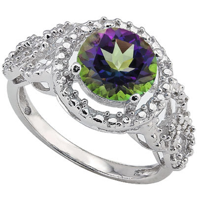 SPARKLING 2 CARAT MYSTIC GEMSTONE & DOUBLE GENUINE DIAMONDS PLATINUM OVER 0.925 STERLING SILVER RING