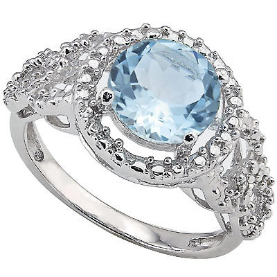 EXQUISITE 2.00 CT BLUE TOPAZ & 2 PCS GENUINE DIAMONDS 0.925 STERLING SILVER W/ PLATINUM RING