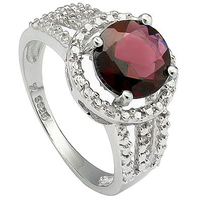 ELEGANT 2.30 CARAT GARNET & DOUBLE GENUINE DIAMONDS PLATINUM OVER 0.925 STERLING SILVER RING