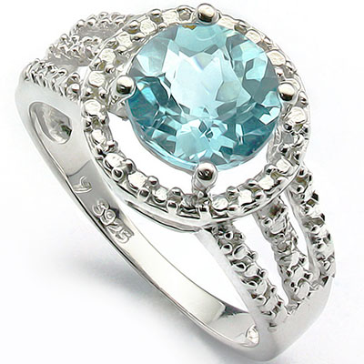 CLASSIC 2 CARAT BLUE GEMSTONE & DOUBLE GENUINE DIAMONDS PLATINUM OVER 0.925 STERLING SILVER RING
