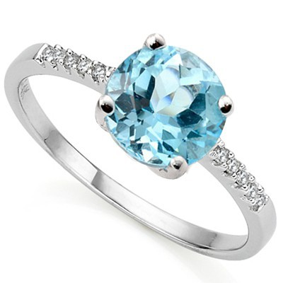 AMAZING 1.62 CT BLUE TOPAZ WITH DOUBLE DIAMONDS 0.925 STERLING SILVER W/ PLATINUM RING
