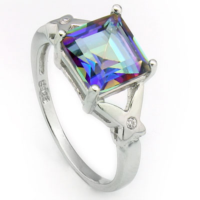 BRILLIANT 2.45 CARAT BLUE MYSTIC GEMSTONE & CREATED WHITE SAPPHIRE PLATINUM OVER 0.925 STERLING SILVER RING