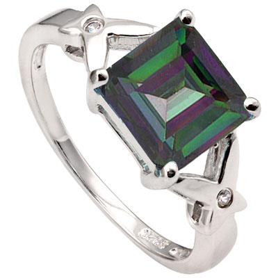 PRICELESS 3.11 CARAT TW (3 PCS) MYSTIC GEMSTONE & CUBIC ZIRCONIA PLATINUM OVER 0.925 STERLING SILVER RING