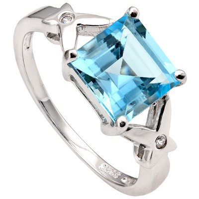 PRETTY 3.07 CT BLUE TOPAZ & DOUBLE CREATED WHITE SAPPHIRE 0.925 STERLING SILVER W/ PLATINUM RING