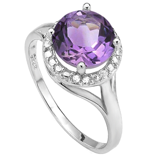 SPECTACULAR 1.72 CT AMETHYST WITH DOUBLE GENUINE DIAMONDS PLATINUM OVER 0.925 STERLING SILVER RING
