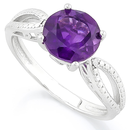 CAPTIVATING 1.96 CARAT AMETHYST & DOLUBLE GENUINE DIAMONDS PLATINUM OVER 0.925 STERLING SILVER RING