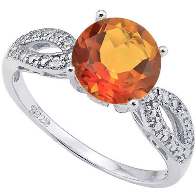 CLASSIC 2.0 CARAT AZOTIC GEMSTONE WITH DOUBLE GENUINE DIAMONDS PLATINUM OVER 0.925 STERLING SILVER RING