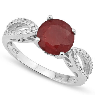 DAZZLING 2.65 CT DYED RUBY & 2PCS GENUINE DIAMOND PLATINUM OVER 0.925 STERLING SILVER RING