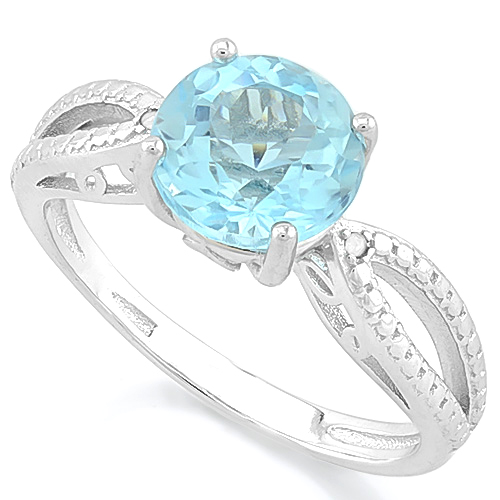 SPARKLING 2.00 CT BLUE TOPAZ & 2 PCS GENUINE DIAMOND 0.925 STERLING SILVER W/ PLATINUM RING