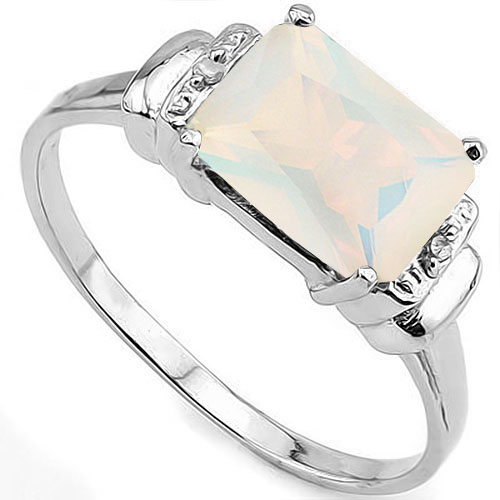 CLASSY 1.75 CARAT CREATED FIRE OPAL WITH DOUBLE GENUINE DIAMONDS PLATINUM OVER 0.925 STERLING SILVER RING