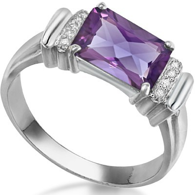 WONDERFUL 2.13 CT AMETHYST DOUBLE WHITE DIAMOND 0.925 STERLING SILVER W/ PLATINUM RING