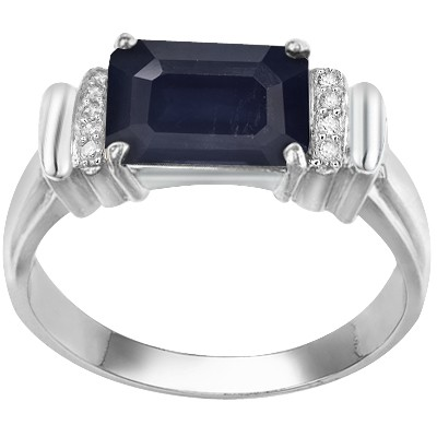 DELICATE 2.78 CT GENUINE BLACK SAPPHIRE DOUBLE WHITE DIAMOND 0.925 STERLING SILVER W/ PLATINUM RING