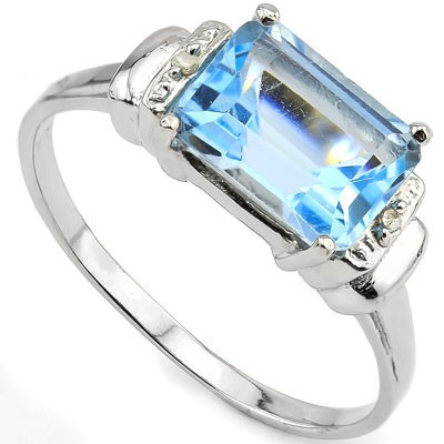 CLASSY 2.9 CARAT BLUE GEMSTONE WITH DOUBLE GENUINE DIAMONDS PLATINUM OVER 0.925 STERLING SILVER RING
