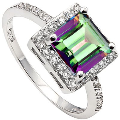FASCINATING 2.10 CT MYSTIC GEMSTONE & 24 PCS CREATED WHITE SAPPHIRE 0.925 STERLING SILVER W/ PLATINUM RING