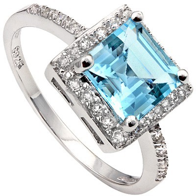 PERFECT! 2.10 CT SKY BLUE TOPAZ & 24 PCS CREATED WHITE SAPPHIRE 0.925 STERLING SILVER W/ PLATINUM RING