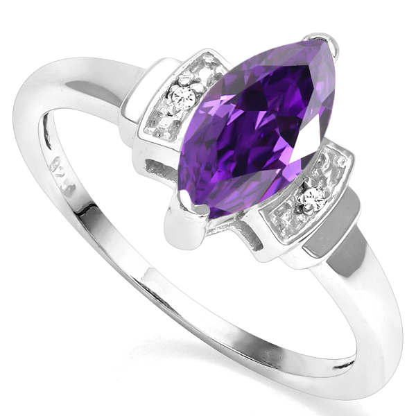 CLASSY 1.57 CT AMETHYST WITH DOUBLE GENUINE DIAMONDS 0.925 STERLING SILVER W/ PLATINUM RING
