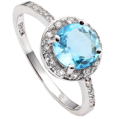 MARVELOUS! 1.65 CT BLUE TOPAZ & 20 PCS CREATED WHITE SAPPHIRE 0.925 STERLING SILVER W/ PLATINUM RING