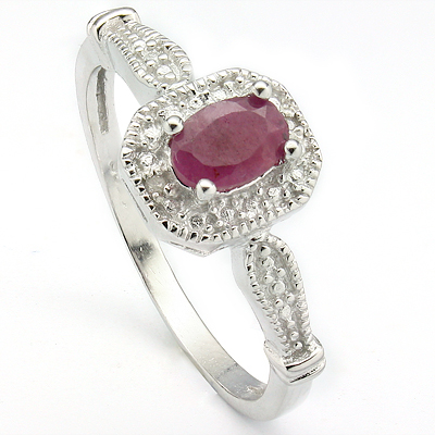 AWESOME 0.62 CARAT GENUINE RUBY & DOUBLE GENUINE DIAMONDS PLATINUM OVER 0.925 STERLING SILVER RING