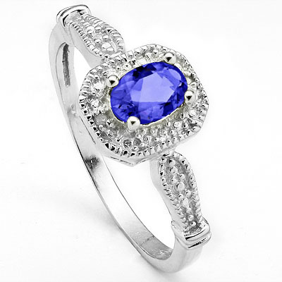 PRICELESS 0.42 CT GENUINE TANZANITE & 2PCS GENUINE DIAMOND 0.925 STERLING SILVER W/ PLATINUM RING