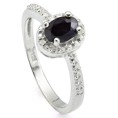 DAZZLING 0.55 CARAT GENUINE SAPPHIRE & DOUBLE GENUINE DIAMONDS PLATINUM OVER 0.925 STERLING SILVER RING