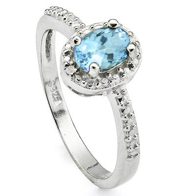 CLASSIC 0.6 CARAT BLUE TOPAZ WITH DOUBLE GENUINE DIAMONDS PLATINUM OVER 0.925 STERLING SILVER RING