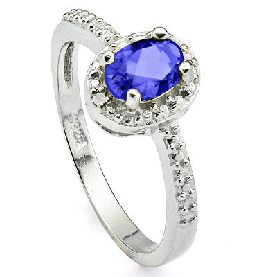 GLAMOROUS 0.44 CARAT TW (3 PCS) GENUINE TANZANITE & GENUINE DIAMOND PLATINUM OVER 0.925 STERLING SILVER RING