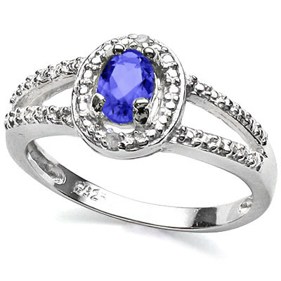SPARKLING 0.48 CT GENUINE TANZANITE & DOUBLE GENUINE DIAMONDS 0.925 STERLING SILVER W/ PLATINUM RING