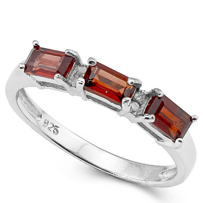 SMASHING 1.2 CARAT TRIPLE GARNET WITH GENUINE DIAMONDS PLATINUM OVER 0.925 STERLING SILVER RING