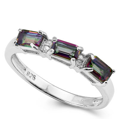 SMASHING 0.84 CARAT MYSTIC GEMSTONE WITH 4 PCS GENUINE DIAMONDS PLATINUM OVER 0.925 STERLING SILVER RING