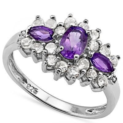 SMASHING 0.75 CARAT AMETHYST WITH GENUINE DIAMONDS PLATINUM OVER 0.925 STERLING SILVER RING