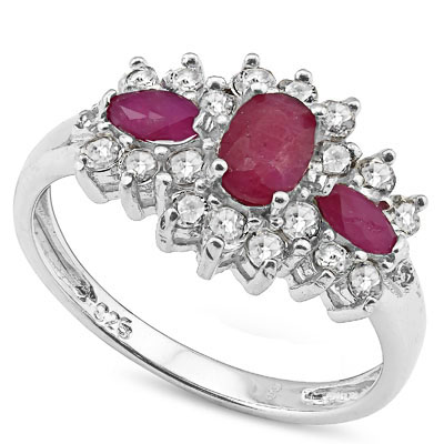 SMASHING 0.94 CT GENUINE RUBY WITH WHITE TOPAZ/ DIAMONDS PLATINUM OVER 0.925 STERLING SILVER RING