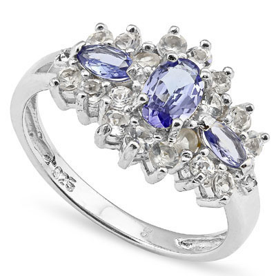 SMASHING 0.67 CARAT GENUINE TANZANITE WITH GENUINE DIAMONDS PLATINUM OVER 0.925 STERLING SILVER RING