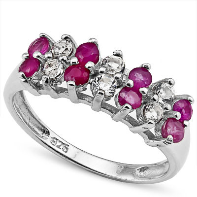 SMASHING 0.72 CARAT GENUINE RUBY WITH WHITE TOPAZ PLATINUM OVER 0.925 STERLING SILVER RING