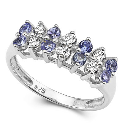 SMASHING 1.12 CARAT TW (14 PCS) GENUINE TANZANITE & WHITE TOPAZ PLATINUM OVER 0.925 STERLING SILVER RING
