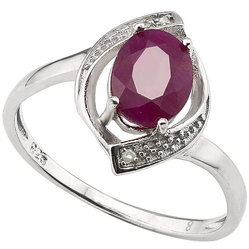 SMASHING 1.77 CARAT GENUINE RUBY WITH DOUBLE GENUINE DIAMONDS PLATINUM OVER 0.925 STERLING SILVER RING