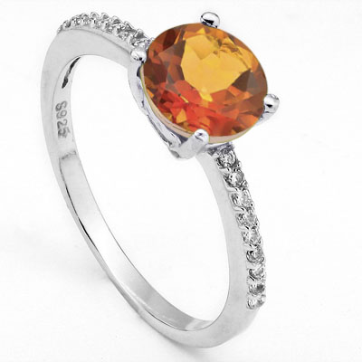 GLAMOROUS 1.85 CARAT TW (21 PCS) AZOTIC GEMSTONE WITH CREATED WHITE SAPPHIRE PLATINUM OVER 0.925 STERLING SILVER RING
