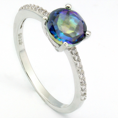 ALLURING 1.4 CARAT OCEAN MYSTIC GEMSTONE & CREATED WHITE SAPPHIRE PLATINUM OVER 0.925 STERLING SILVER RING