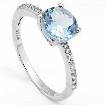 LOVELY 1.4 CARAT BLUE TOPAZ WITH CUBIC ZIRCONIA PLATINUM OVER 0.925 STERLING SILVER RING