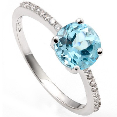 FLOSSY 1.50 CT SKY BLUE TOPAZ & 20 PCS CREATED WHITE SAPPHIRE 0.925 STERLING SILVER W/ PLATINUM RING