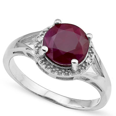 SMASHING 2.4 CARAT GENUINE RUBY WITH GENUINE DIAMONDS PLATINUM OVER 0.925 STERLING SILVER RING