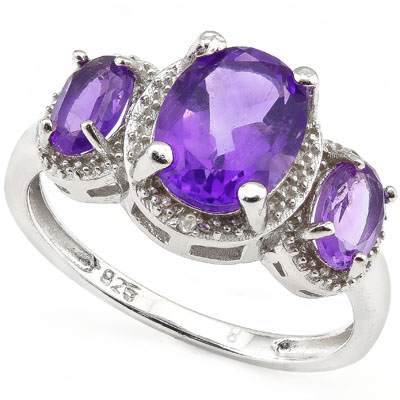 SMASHING 2.65 CARAT TW (47 PCS) AMETHYST & AMETHYST PLATINUM OVER 0.925 STERLING SILVER RING