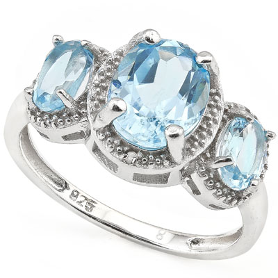 SMASHING 3.60 CARAT BLUE TOPAZ & DOUBLE GENUINE DIAMONDS PLATINUM OVER 0.925 STERLING SILVER RING